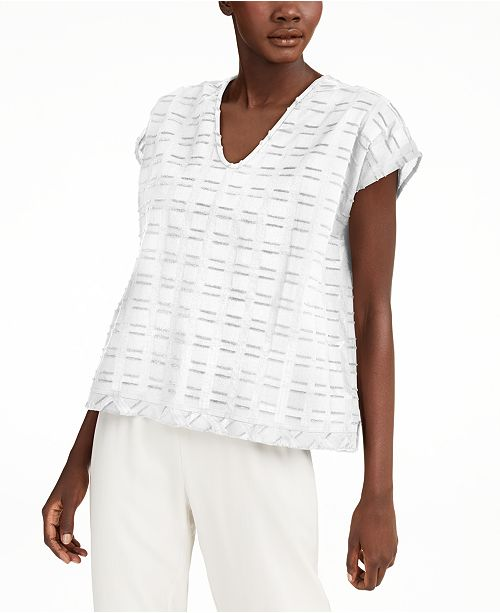 Eileen Fisher Organic Cotton Textured V-Neck Top