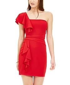 Juniors' Ruffled One-Shoulder Bodycon Dress