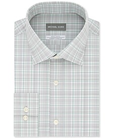 Men's Classic/Regular-Fit Non-Iron Airsoft Performance Stretch Green Stone Plaid Dress Shirt