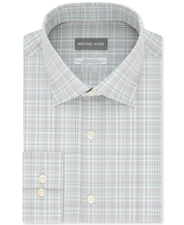Michael Kors Men's Classic/Regular-Fit Non-Iron Airsoft Performance Stretch Green Stone Plaid Dress Shirt