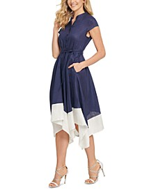 Contrast-Hem Fit & Flare Linen Dress