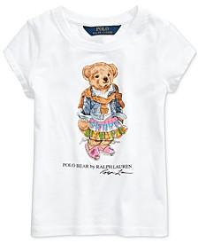 Toddler Girls Madras Bear Cotton Jersey T-Shirt