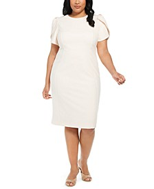 Plus Size Puff-Sleeve Sheath Dress
