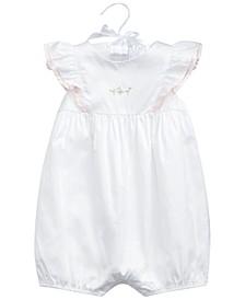 폴로 랄프로렌 여아용 러플 우주복 Polo Ralph Lauren Baby Girls Ruffled Cotton Bubble Shortall,White
