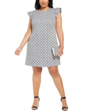 Plus Size Ruffle-Sleeve Shift Dress