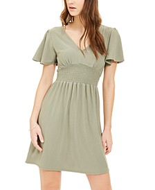 Juniors' Cinched Flutter-Sleeve Dress