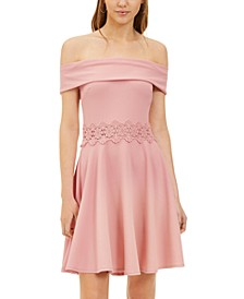 Juniors' Off-The-Shoulder A-Line Dress