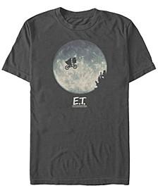 E.T. the Extra-Terrestrial Men's Infamous Flying Bike Scene Silhouette Logo Short Sleeve T-Shirt