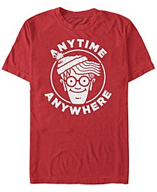 Where's Waldo Men's Anytime Anywhere Big Face Logo Short Sleeve T-Shirt