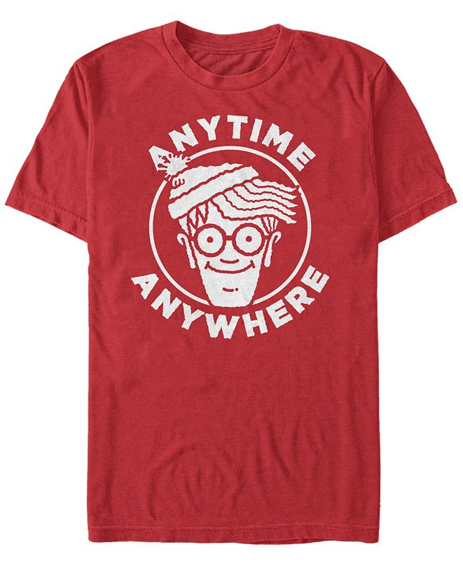 Fifth Sun Where's Waldo Men's Anytime Anywhere Big Face Logo Short Sleeve T-Shirt