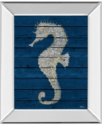Antique Seahorse on Blue Il by Patricia Pinto Mirror Framed Print Wall Art - 22