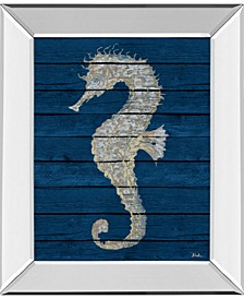 Antique Seahorse on Blue by Patricia Pinto Mirror Framed Print Wall Art Collection