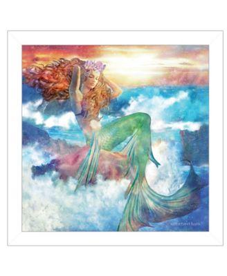 Sunset Mermaid by Bluebird Barn, Ready to hang Framed Print, White Frame, 15