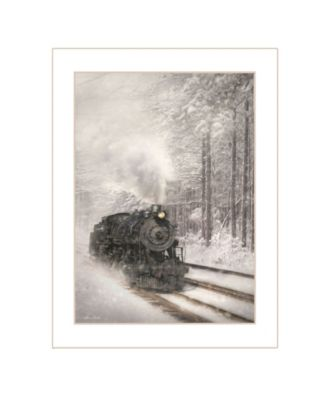 Snowy Locomotive by Lori Deiter, Ready to hang Framed Print, Black Frame, 14