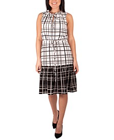 Petite Windowpane-Print Tiered Dress