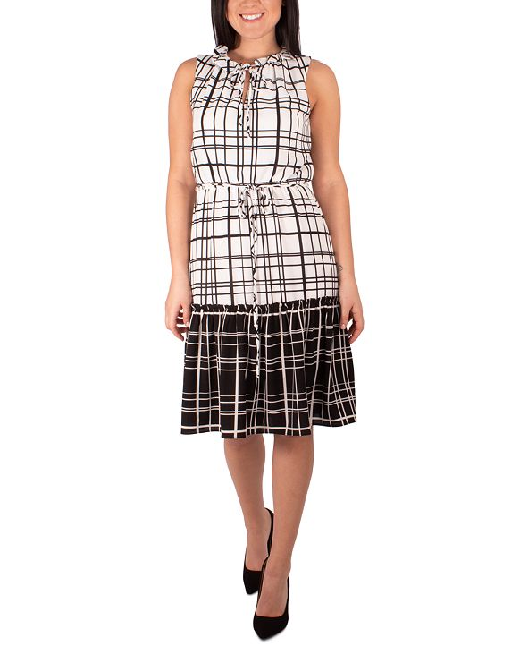 NY Collection Petite Windowpane-Print Tiered Dress