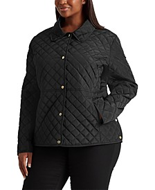 Plus Size Faux-Leather-Trim Quilted Jacket