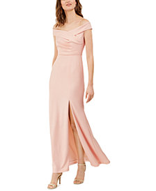 Adrianna Papell Off-The-Shoulder Crepe Gown