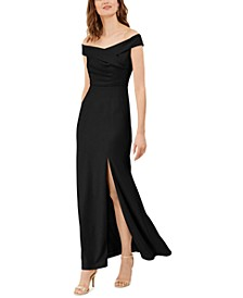 Off-The-Shoulder Crepe Gown