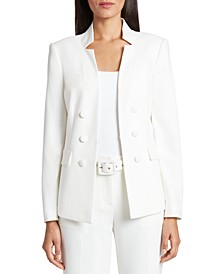 Star-Neck Kiss-Front Blazer