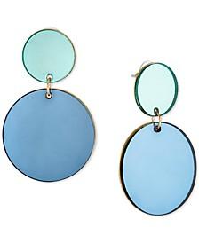 Gold-Tone Blue Disc Double Drop Earrings
