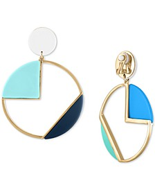 Gold-Tone Multicolor Geometric Circle Drop Clip-On Earrings