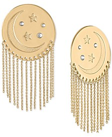 Gold-Tone Moon & Star Disc Chain Drop Earrings