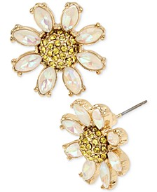 Gold-Tone Crystal Daisy Stud Earrings