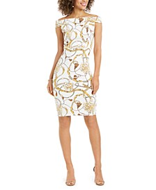 Off-The-Shoulder Printed Bodycon Dress, Created for Macy's