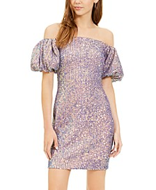 Juniors' Off-The-Shoulder Puff-Sleeve Dress