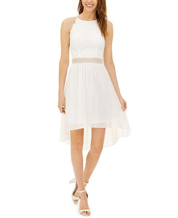 BCX Juniors' Lace-Top High-Low Dress