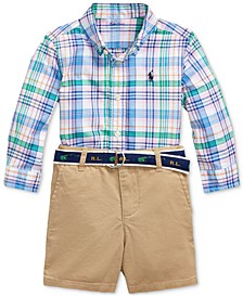 Baby Boys Shirt, Belt & Shorts Set