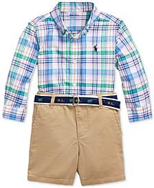 폴로 랄프로렌 남아용 반바지 Polo Ralph Lauren Baby Boys Shirt, Belt & Shorts Set,Pink/orange Multi