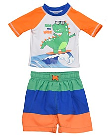 Infant Boys 2 Piece Rashguard Set Featuring A Surfing Dino Design