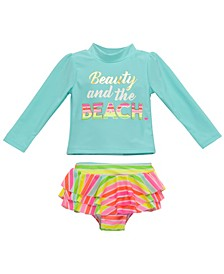 Infant Girls 2 Piece Rashguard Set Featuring Beauty and The Beach Design