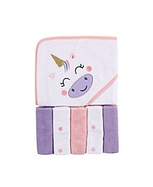 Baby Girls and Boys Unicorn Hooded Towel with 5 Washcloths, Pack of 6