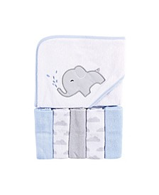 Baby Girls and Boys Elephant Spray Hooded Towel with 5 Washcloths, Pack of 6