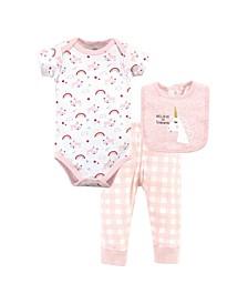Baby Girls and Boys Unicorn Bodysuit, Pant and Bib, Pack of 3