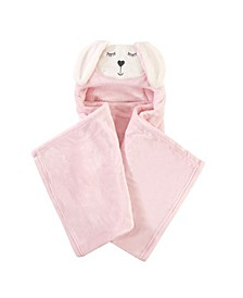 Baby Girls Modern Bunny Plush Hooded Blanket