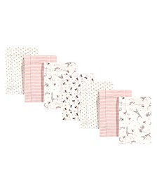 Baby Girls and Boys Paris Flannel Burp Cloths, Pack of 7