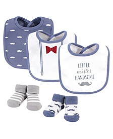 Baby Boys Little Mister Handsome Bib and Sock Set, Pack of 5