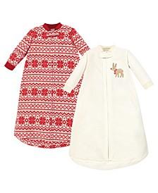 Baby Girls and Boys Reindeer Long-Sleeve Fleece Sleeping Bag, Pack of 2