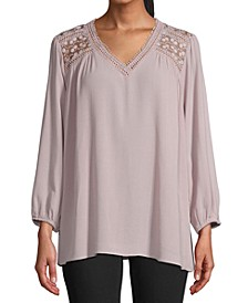 Lace-Trim Long-Sleeve Top
