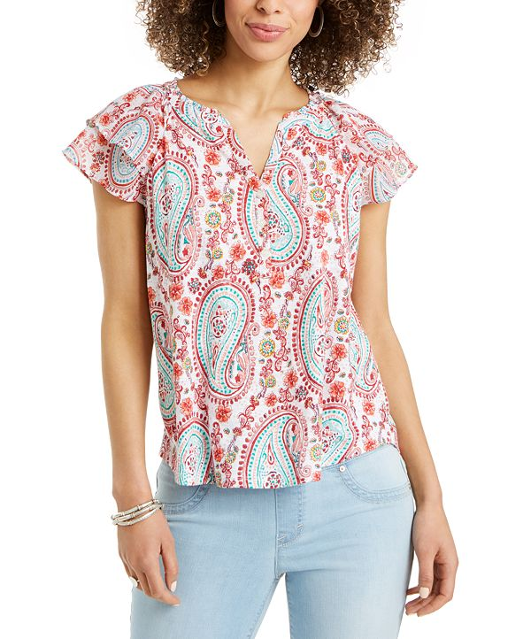Style & Co Printed Split-Neck Top, Created for Macy's