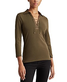Lace-Up Long Sleeve Top