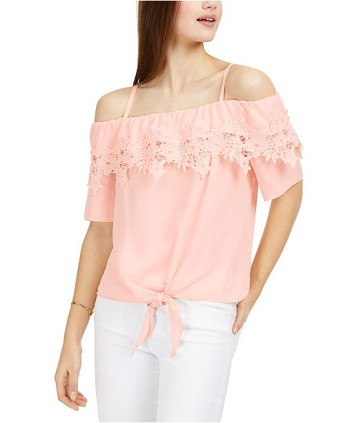 BCX Juniors' Off-The-Shoulder Tie-Front Top