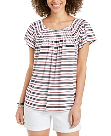 Petite Striped Pleated-Neck Top, Created for Macy's