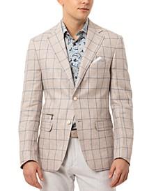 Orange Men's Slim-Fit Oatmeal/Blue Plaid Sport Coat
