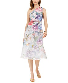 One-Shoulder Floral Organza Dress