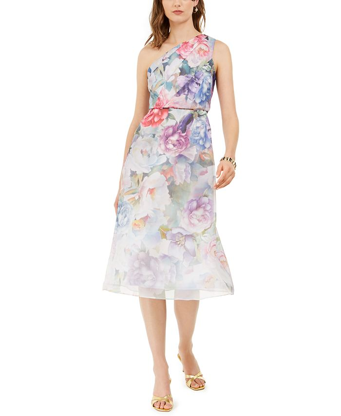Adrianna Papell - One-Shoulder Floral Organza Dress